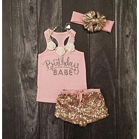 3PC Birthday Babe Top|+Sequin Pants+Headband