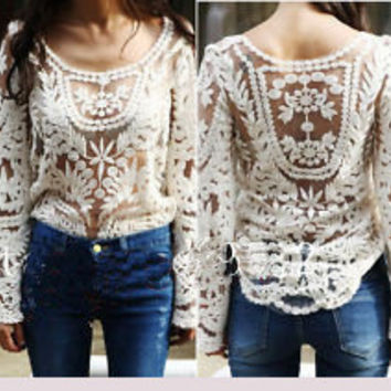Sexy Lace Gradient Hollow Out Perspective Shirt