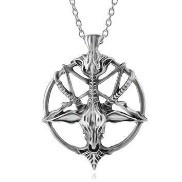 Fashion Inverted Pentagram Goat Pan God Skull Head Pendant Necklace Satanism Occult Metal vintage silver star statement Jewelry