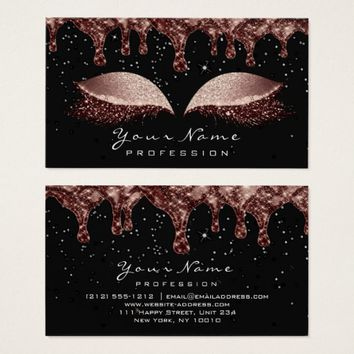 Makeup Eyes Lashes Glitter Blush Wax Red Bean Business Card