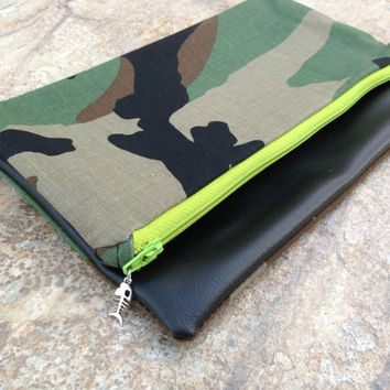 camo & soft black faux leather clutch purse with lime green zipper