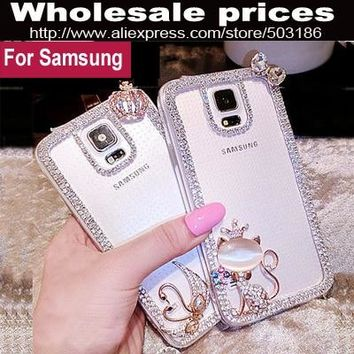 Swan Hello Kitty Diamond Rhinestone Frame case For Samsung Galaxy S3 S4 S5 S6 S7 Edge S8 S9 Plus Note 2 3 4 5 8 9 G530 A8 Star