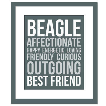 Beagle Character Traits - Subway Art Print - Typography Poster - 8 x 10 Wall Art Decor - Dog Lover Poster