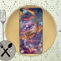 Cat On Bacon Flying Through A Space Galaxy Funny Kitty Custom Rubber Case iPod 5th Generation and Plastic Case For The iPod 4th Generation