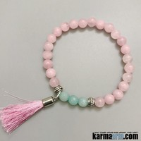 DREAM LOVER: Rose Quartz | Blue Jade | Tassel Yoga Chakra Reiki Healing Bracelet