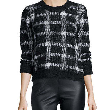 Boxed In Long-Sleeve Sweater, Black/White, Size: