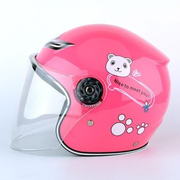 Motorcycle Helmet Safety Winter Multicolor bear print Full Face Bike Helmet for Kids Children Girls Boys Birthday Best Gifts
