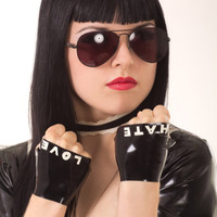 Custom Boxed Love & Hate Fingerless Latex Gloves by CherryPopLatex