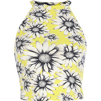 River Island Womens Yellow daisy print racer front crop top