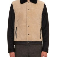 Contrast-sleeve shearling jacket | Valentino | MATCHESFASHION.COM US