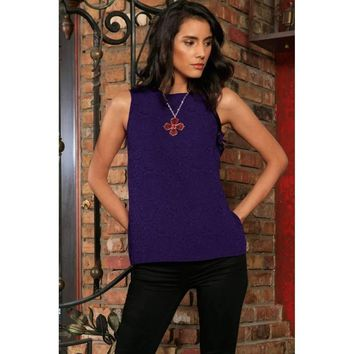 Purple Floral Sleeveless Trendy Cute Dressy Summer Cocktail Top Women