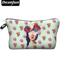 Deanfun 3D Printing Makeup Bags With Multicolor Pattern Cute Cosmetics Pouchs For Travel Ladies Pouch Women Cosmetic Bag