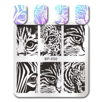 BORN PRETTY Cat Tiger Leopard Eye Stamping Template Ballet Swan Geometry Dream Catcher Castle Manicure Nail Art Image Plates