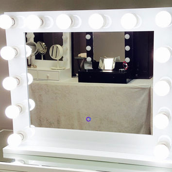 Dimmable Grand Hollywood Lighted Vanity Mirror w/ Dual Outlets