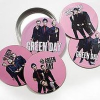 ROCKWORLDEAST - Green Day, Coasters, Band on Pink
