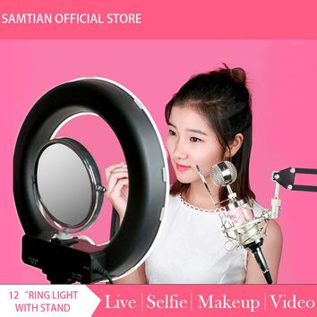 "12"" 180Pcs 5500K 4200W Dimmable Photography Photo/Studio/Phone/Video LED Ring Light Lamp With Tripod Stand For Camera"