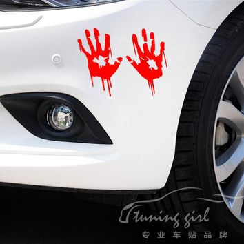 Car Stickers Bloody Fingerprint Blooding Handprint Lifelike Creative Decals Auto Tuning Styling Waterproof 20x20cm D15