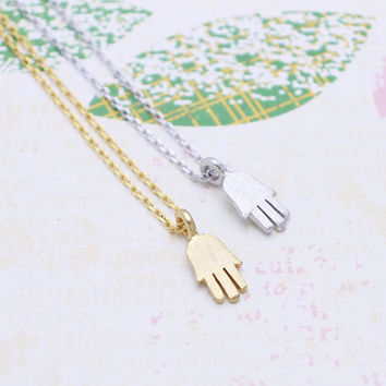 Simple tiny hamsa hand necklace in  silver or gold tone