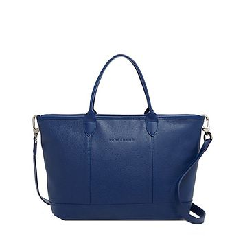 Longchamp Women Le Foulonne Leather Zip Top Tote Bag With Shoulder Strap, Blue
