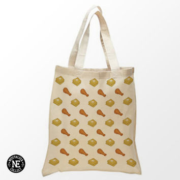 Chicken and Waffles Pattern Tote Bag - 15X16 Inch Natural Tote Bag, White & Black- Fried Chicken - Belgian Waffles