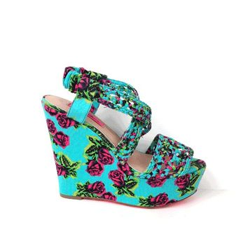 Betsey Johnson – Rose Print Slingback Wedge In Mint/Multi | Thirteen Vintage