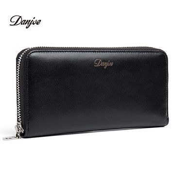 Men Wallets Genuine Leather Zipper Long Casual Male Purses Big Capacity Cowhide Day Clutch Wallets Phone Bag