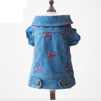 Dog Clothes Pet Clothing For Cats Denim Jacket Coat For Small And Big Animals Puppy Chihuahua Chien Dog Jeans Vest with Cherry
