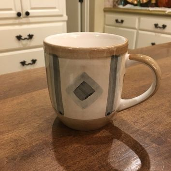 Libbey Tableware Monterrey China Gray Diamonds Brown Bands Coffee Mug EUC
