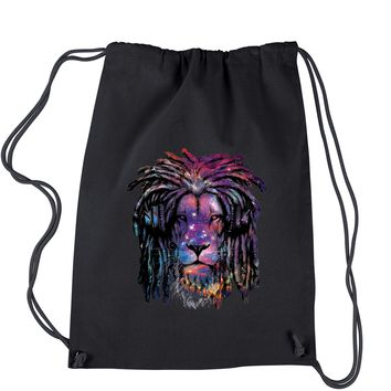 Galaxy Print DJ Lion Drawstring Backpack