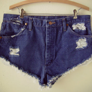 90s cut off denim shorts | vintage high waist blue jean shorts | 36 waist | dark blue wash | daisy duke | hippie boho | worn in | distressed