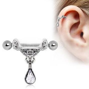 Celtic Floral Tiara Ear Cuff with Tear Drop Dangle ca0e268df14f