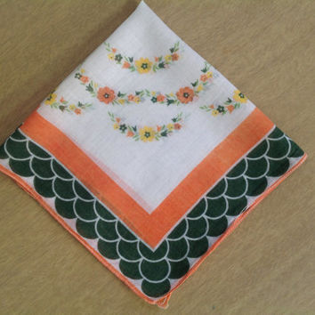 Vintage 40's Handkerchief Hankie Deco Green & Orange Flower Chains Border Print