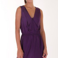 PURPLE RUFFLE SOLID DRESS @ KiwiLook fashion
