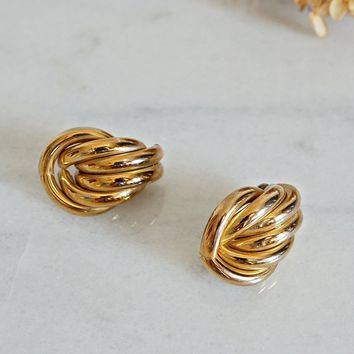 Vintage 1980s Tubular + Gold Knot Earrings