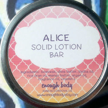 Alice Solid Lotion Bar ~ Body Bar ~ Massage Lotion Bar ~ Cuticle Cream