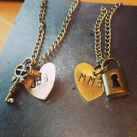 Hand Stamped Cute Couple or Friendship Necklace Set