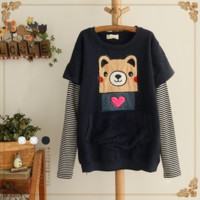 Cute cartoon bear splicing stripe pullover