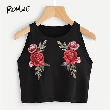 ROMWE Black Embroidered Appliques Crop Tank Top 2018 Spring Casual Round Neck Slim Fit Short Vest Women Floral Sexy Party Top