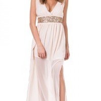 Sequined Band Chiffon Maxi Dress in Pink