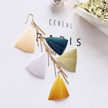 2018 Summer New Style Bohemian Long Tassel Feather Sage Earrings Accessories Variety of colors with a sense of design Full of pe