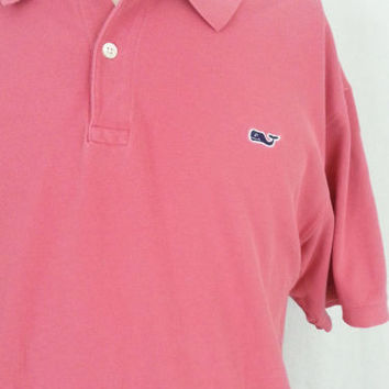 Vineyard Vines Pink Whale Logo Short Sleeve Men's Golf Polo Shirt - XL
