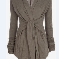 Gray Turn-Down Collar Long Sleeve Tie-Waist Drape Coat