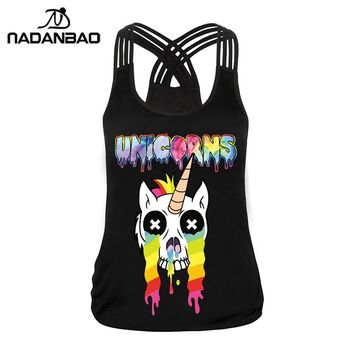 NADANBAO New Sexy Women Tank Top Colorful Kawaii Unicorn Digital Printed Cropped Sleeveless Printed Tribal Black Tops Crops