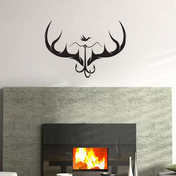 Antlers with Fishhook and Ducks Vinyl Wall Decal Sticker