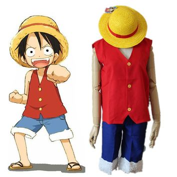 Anime One Piece Monkey D Luffy Cosplay Costume Full Set Uniform ( Top + Shorts + Hat ) For  Adult  Halloween Costumes Size S-XXL
