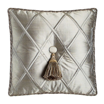 "Silk Diamond Pillow with Tassel, 18""Sq. - Dian Austin Couture Home"