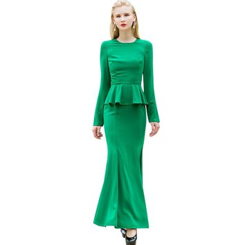 OL Style Women's Full Length Mermaid Long Dress Vintage Cascading Ruffle Cocktail Party Dress Maxi Down Dresses 6535