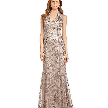 Ignite Evenings Sequin V-Neck Gown - Stone