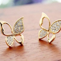 Elegent rhinestone  hollow out  butterfly wings  stud earrings