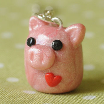 Pink Pig Polymer Clay Miniature Necklace Kawaii Jewelry